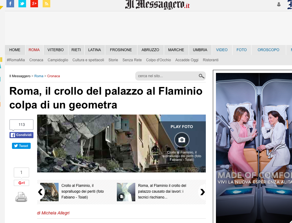 crollo palazzina roma architetto geometra